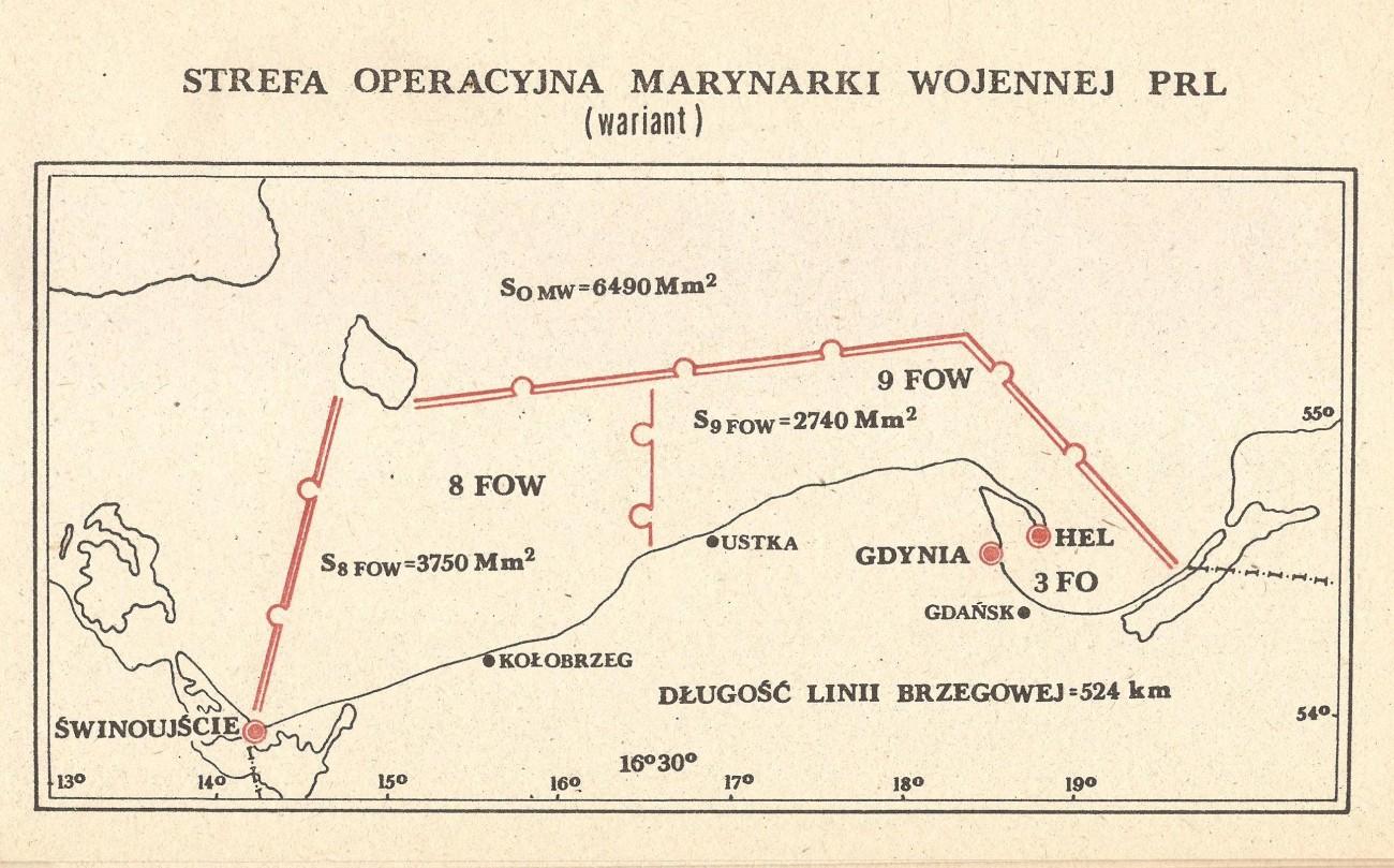 Strefa operacyjna polskiej marynarki wojennej - obrona wybrzeża PRL